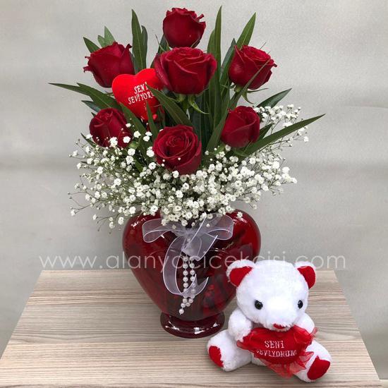 7 Rose Teddy Bear With Vase