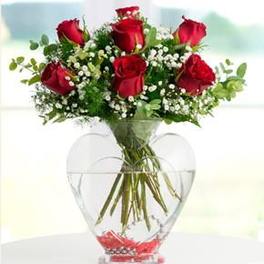kutu güller Şeffaf Kalp 7 Gül