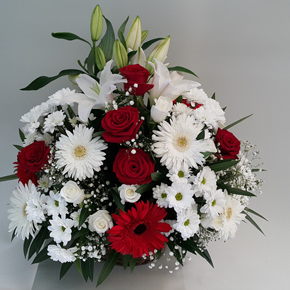 large arrangement Roses, Lilies, Gerbera