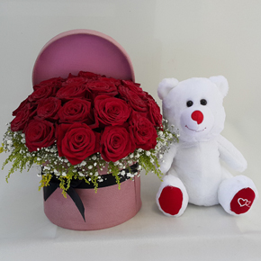 chrysanthemum and lisyantus. Roses and teddy bear in the box