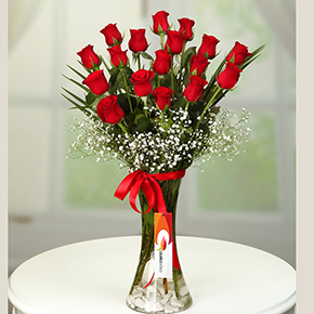 17 red roses in a vase