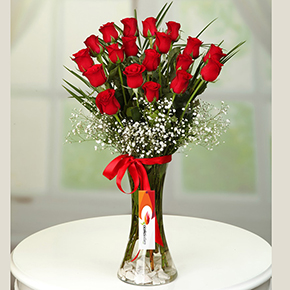 alanya florist 19 red roses in a vase