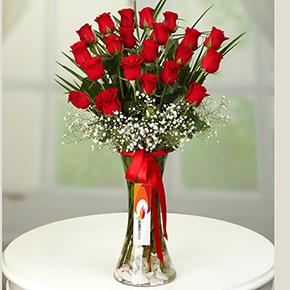 alanya blumen online bestellen 21 rote Rosen in einer vase