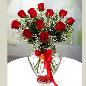 alanya florist İn Vase 11 Red Roses